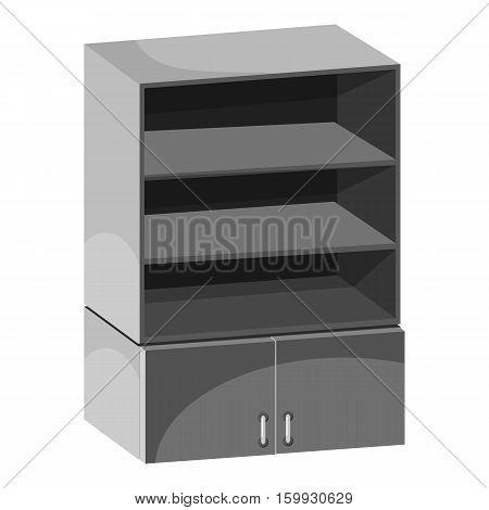 Wardrobe with shelves icon. Gray monochrome illustration of wardrobe with shelves vector icon for web