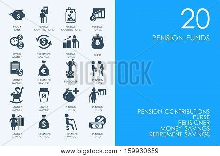 pension funds vector set of modern simple icons