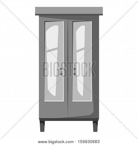 Wardrobe for clothes icon. Gray monochrome illustration of wardrobe for clothes vector icon for web