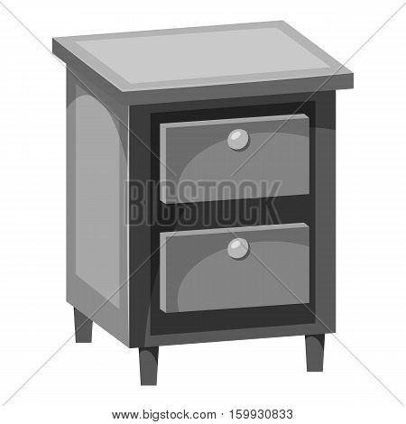 Chest of drawers icon. Gray monochrome illustration of chest of drawers vector icon for web