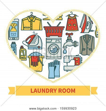 Cleaning business. Laundry, Dry Cleaning, with symbols, washing machine, laundry basket. Design elements are arranged in a heart shape