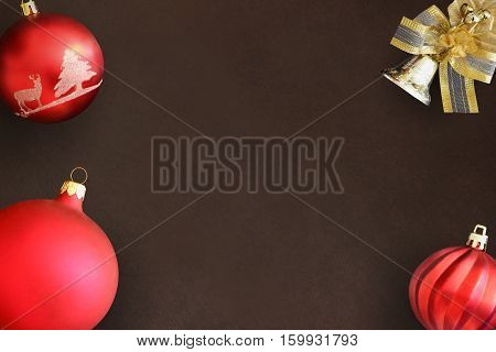 Christmas red and wavy dull ball decorative bell on dark background