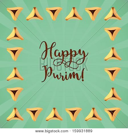 Jewish holiday of Purim greeting card with traditional hamantaschen cookies and with text Happy Purim. Vector illustration