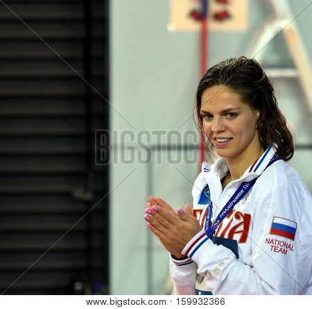 Hong Kong China - Oct 29 2016. EFIMOVA Yuliya (RUS) at the Victory Ceremony of Women's Breaststroke 100m. FINA Swimming World Cup.