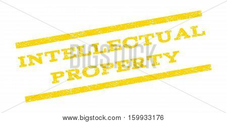 Intellectual Property watermark stamp. Text caption between parallel lines with grunge design style. Rubber seal stamp with scratched texture. Vector yellow color ink imprint on a white background.