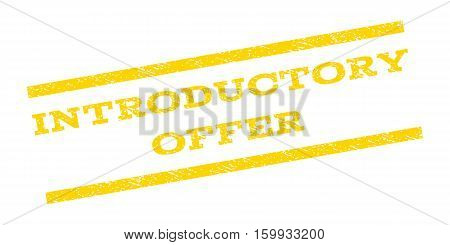 Introductory Offer watermark stamp. Text caption between parallel lines with grunge design style. Rubber seal stamp with unclean texture. Vector yellow color ink imprint on a white background.