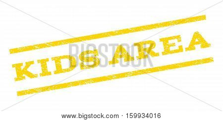Kids Area watermark stamp. Text tag between parallel lines with grunge design style. Rubber seal stamp with scratched texture. Vector yellow color ink imprint on a white background.