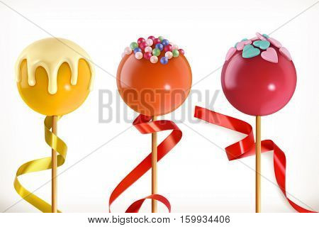 Lollipop candy. Valentine sweet heart. 3d vector icon