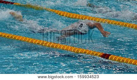 Hong Kong China - Oct 29 2016. Olympian and World Youth gold medalist Peter BERNEK (HUN) swimming in the Men's Freestyle 200m Final. FINA Swimming World Cup Victoria Park Swimming Pool.