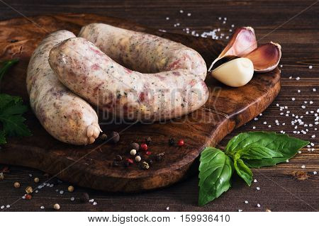 Raw Sausages With Garlic And Parsley