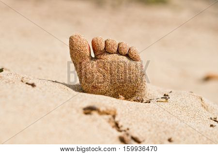 two feet on the beach in rigor mortis protrude from the sand poster