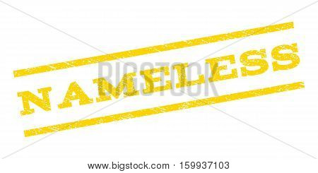 Nameless watermark stamp. Text tag between parallel lines with grunge design style. Rubber seal stamp with unclean texture. Vector yellow color ink imprint on a white background.