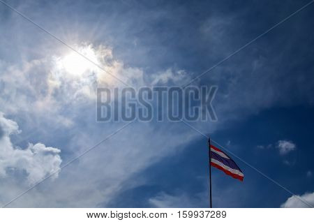 Thailand flag atop the wind blowing profusely swing.