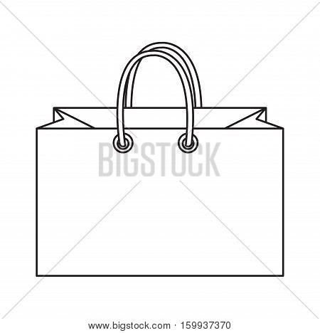 Shopping bag icon, doodle, line style. Colorful shopping bag sign symbol. Paper bags isolated on a white background. Gift package. Vector Illustration