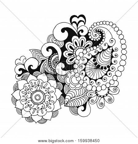 Henna doodle vector elements. Ethnic floral zentangle black white illustration. Hand drawn pattern for coloring page book greeting card textile decoration.