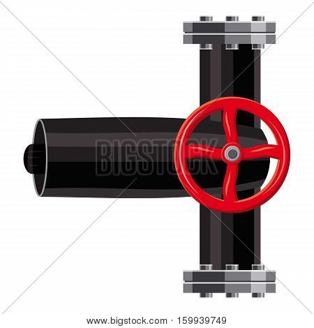 Pipe with valves icon. Cartoon illustration of pipe with valves vector icon for web