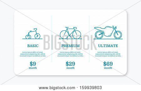 Vector illustration of pricing subscription plan table template with blue bicycles and motocycle in line style. UI UX interface design elements. Price list 3 options plans for online services.