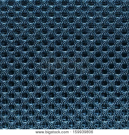 Blue fishnet cloth material texture background. Nylon texture. Nylon fabric. Nylon bag for background with copy space for text or image.