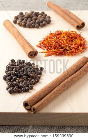 Condiments And Spices With Shallow Depth Of Focus