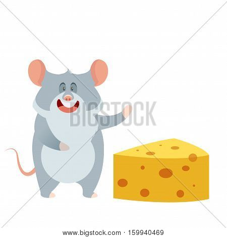 Vector image of the flat Grey Mouse and a Piece of Cheese