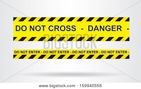 Caution danger and police tape attention. Vector illustration.