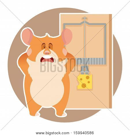 Vector image of the flat Hamster and a mousetrap