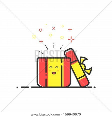 Vector illustration of icon shopping, surprise concept in flat line style. Colored cute gift or bounty. Design for banner, web page and mobile app. Outline object e-commerce.
