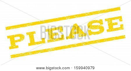Please watermark stamp. Text tag between parallel lines with grunge design style. Rubber seal stamp with dust texture. Vector yellow color ink imprint on a white background.