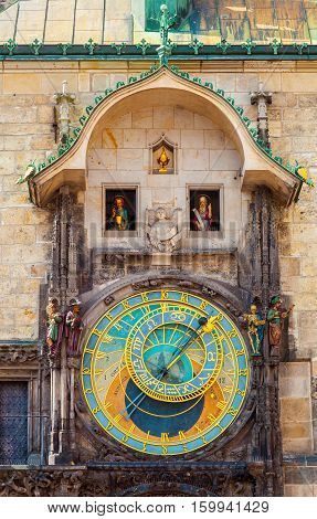 Prague astronomical clock in the building of the Old Town Hall. Prague, Czech Republic.