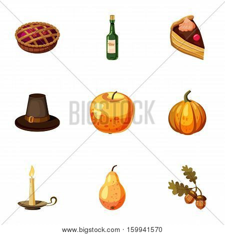 Thanksgiving feast icons set. Cartoon illustration of 9 thanksgiving feast vector icons for web