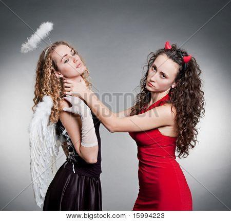 indifferent devil want strangle beautiful angel
