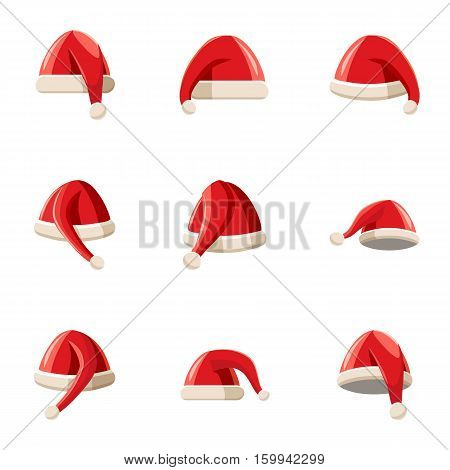 Magician Santa Claus hat icons set. Cartoon illustration of 9 magician Santa Claus hat vector icons for web