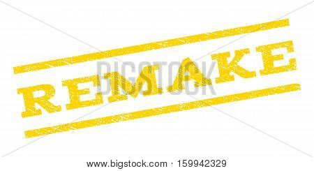 Remake watermark stamp. Text tag between parallel lines with grunge design style. Rubber seal stamp with unclean texture. Vector yellow color ink imprint on a white background.