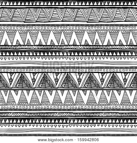 Seamless Ethnic Pattern. Black And White Vector Illustration.