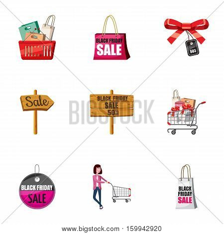 Big sale icons set. Cartoon illustration of 9 big sale vector icons for web