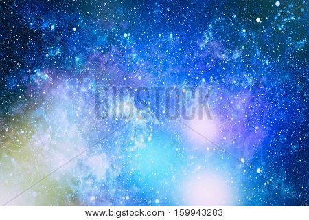 Beautiful space background with stardust and stars. Deep far space, cosmic glowing colors. Milky way conceptual background. Constellations and star dust background. poster