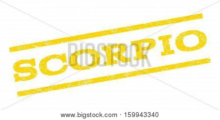 Scorpio watermark stamp. Text tag between parallel lines with grunge design style. Rubber seal stamp with dust texture. Vector yellow color ink imprint on a white background.