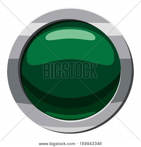 Green button icon. Cartoon illustration of green button vector icon for web