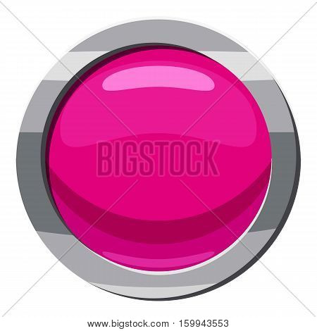 Pink button icon. Cartoon illustration of pink button vector icon for web
