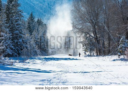 Winter ski resort background and snow canons in Bansko, Bulgaria