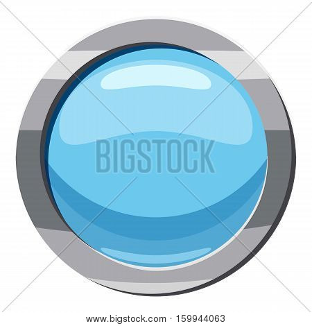 Blue round button icon. Cartoon illustration of blue round button vector icon for web