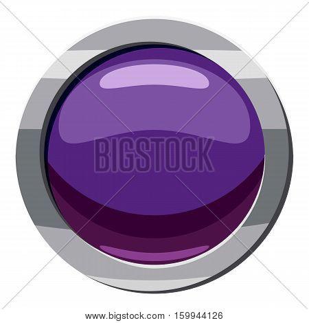 Purple button icon. Cartoon illustration of purple button vector icon for web