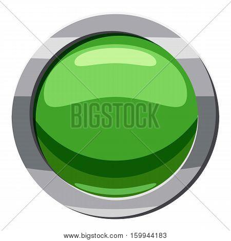 Round green button icon. Cartoon illustration of round green button vector icon for web