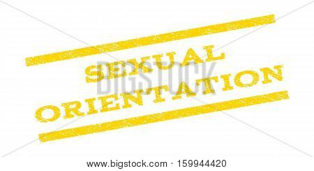 Sexual Orientation watermark stamp. Text tag between parallel lines with grunge design style. Rubber seal stamp with unclean texture. Vector yellow color ink imprint on a white background.