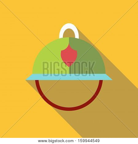 Helmet of firefighter icon. Flat illustration of helmet of firefighter vector icon for web