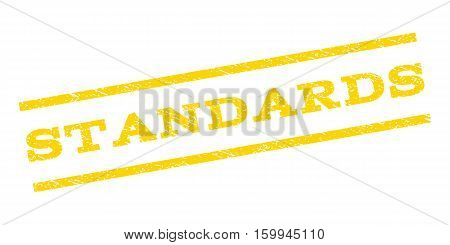 Standards watermark stamp. Text tag between parallel lines with grunge design style. Rubber seal stamp with dust texture. Vector yellow color ink imprint on a white background.