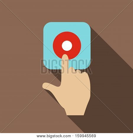 Alarm button icon. Flat illustration of alarm button vector icon for web