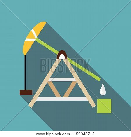 Oil rig icon. Flat illustration of oil rig vector icon for web