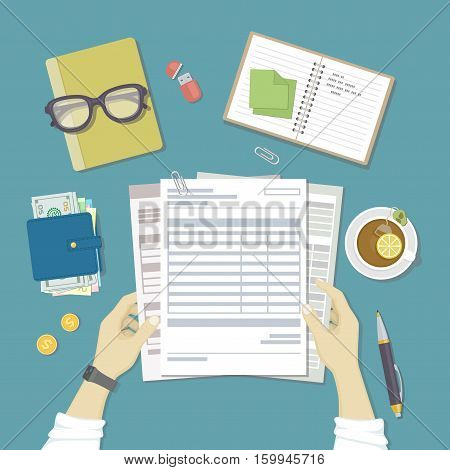 Man works with financial documents. Concept of paying bills, payments, taxes. Human hands hold the accounts, payroll, tax form. Workplace with papers, blanks, forms, wallet with money. Top view Vector