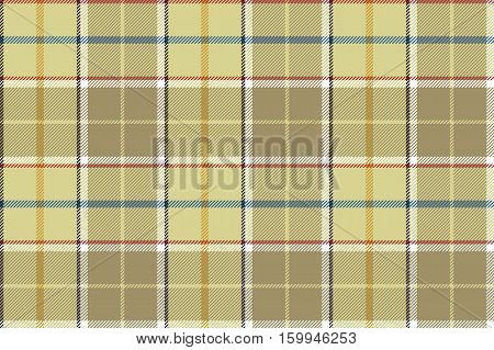 Beige check seamless fabric texture. Vector illustration.